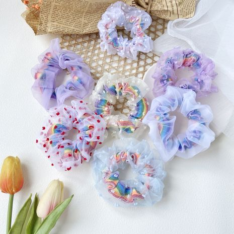 Korean hair scrunchies rainbow net yarn hair scrunchies hair rope head rope cute girl wholesale nihaojewelry NHPJ225478's discount tags
