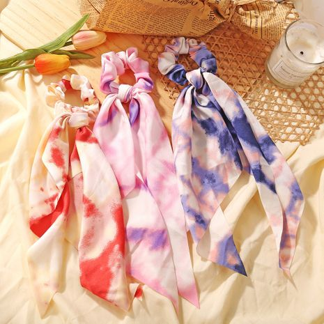 fashion thin tie-dye hair scrunchies disc hair chiffon ink painting hair ring wholesale nihaojewelry NHPJ225481's discount tags