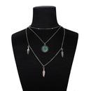 Creative rtro simple cou chane alliage plume pendentif multicouche collier en gros nihaojewelry NHPJ225487
