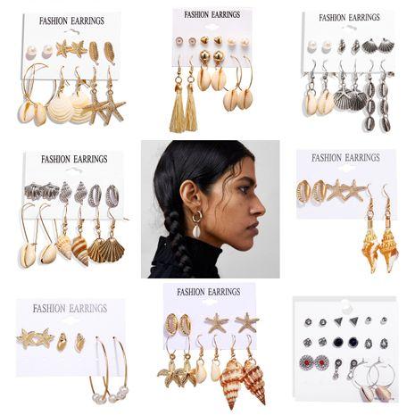 nouvelle boucle d'oreille créative rétro coquille d'argent coquille d'or ensemble nihaojewelry en gros NHPJ225492's discount tags