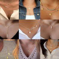 Personalidad retro creativa cadena de clavícula simple tira de metal triángulo geométrico borla collar corto de mujer al por mayor nihaojewelry NHPJ225493