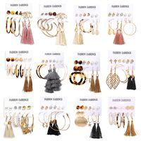 Pendientes de borla de círculo de perlas artificiales de acrílico Set de 6 piezas Pendientes de venta caliente al por mayor nihaojewelry NHPJ225496