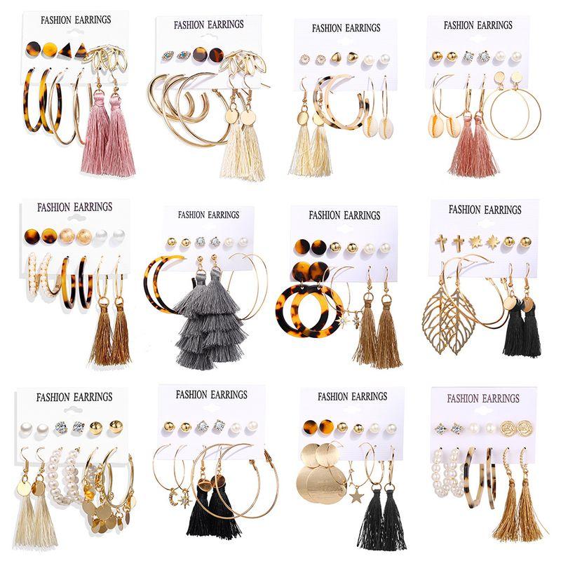 Acrylic Artificial Pearl Circle Tassel Earrings Set 6 Piece Set Hot Selling Earrings wholesale nihaojewelry NHPJ225496