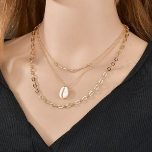 new jewelry personality cold wind shell pendant multilayer necklace temperament simple clavicle chain wholesale nihaojewelry NHPF225500's discount tags