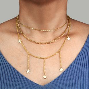 new jewelry fashion multi-layer five-pointed star pendant necklace tide simple necklace wholesale nihaojewelry NHPF225501's discount tags