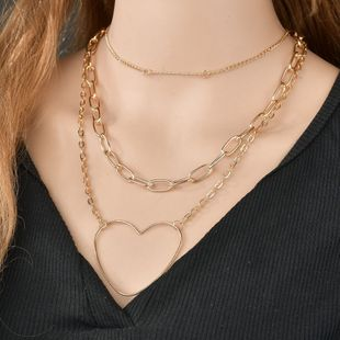 fashion trend new jewelry love hollow alloy three-layer necklace retro temperament heart-shaped clavicle chain wholesale nihaojewelry NHPF225502's discount tags