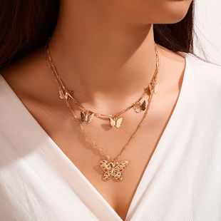 fashion butterfly necklace accessories multi-layer butterfly pendant clavicle chain creative retro simple necklace wholesale nihaojewelry NHPF225504's discount tags