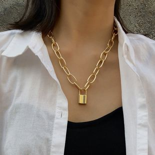 new jewelry personality retro geometric necklace sweater chain simple lock-shaped wild temperament clavicle chain wholesale nihaojewelry NHPF225505's discount tags