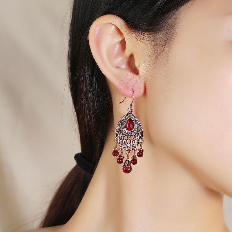Fashion exaggerated Bohemian Indian exotic earrings retro trend palace long tassel earrings wholesale nihaojewelry NHKQ225514