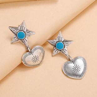 simple five-pointed star love earrings fashion retro blue turquoise wild earrings wholesale nihaojewelry NHKQ225528's discount tags