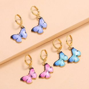 Korean summer fresh temperament wild suit earrings fashion retro color butterfly drop oil 3 piece set earrings wholesale nihaojewelry NHKQ225532's discount tags