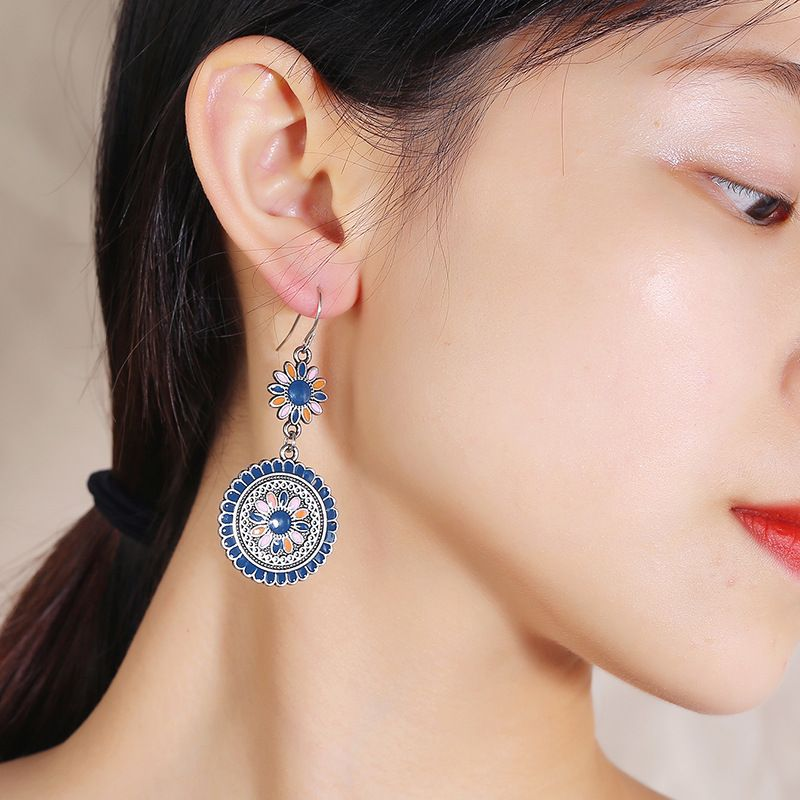 Bohemian national long earrings retro temperament wild nostalgic oil drop long earrings wholesale nihaojewelry NHKQ225543