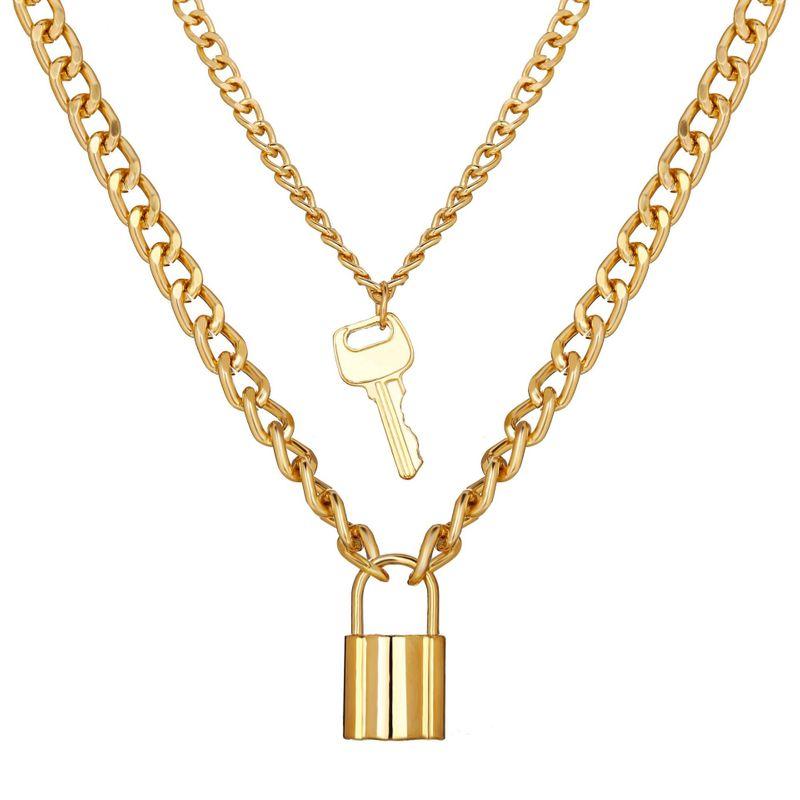 hot sale key lock pendant multilayer necklace creative retro alloy doublelayer necklace wholesale nihaojewelry NHYI225585