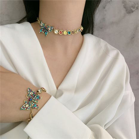 zircon diamond butterfly necklace choker clavicle chain bracelet wholesale nihaojewelry NHYQ225594's discount tags