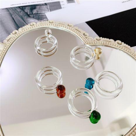 verre translucide multicolore transparent bague index doigt bague mode bague en gros nihaojewelry NHYQ225606's discount tags