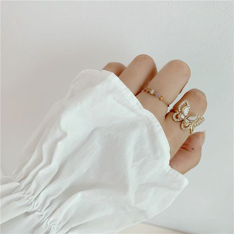 South Korea niche design opening micro-set zircon mother-of-pearl gold plated index finger ring wholesale nihaojewelry NHYQ225620's discount tags