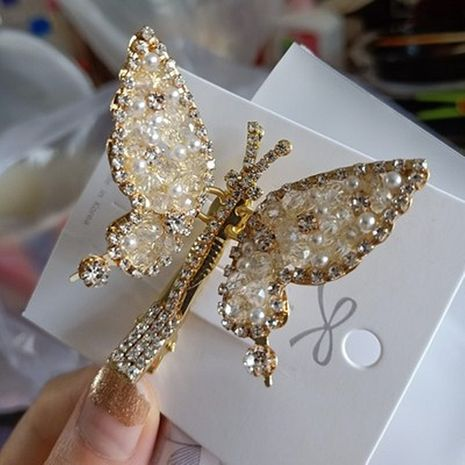 butterfly hair clips sweet super fairy forest full of moving crystal butterfly hairpin bangs clip duckbill clip wholesale nihaojewelry NHYQ225637's discount tags
