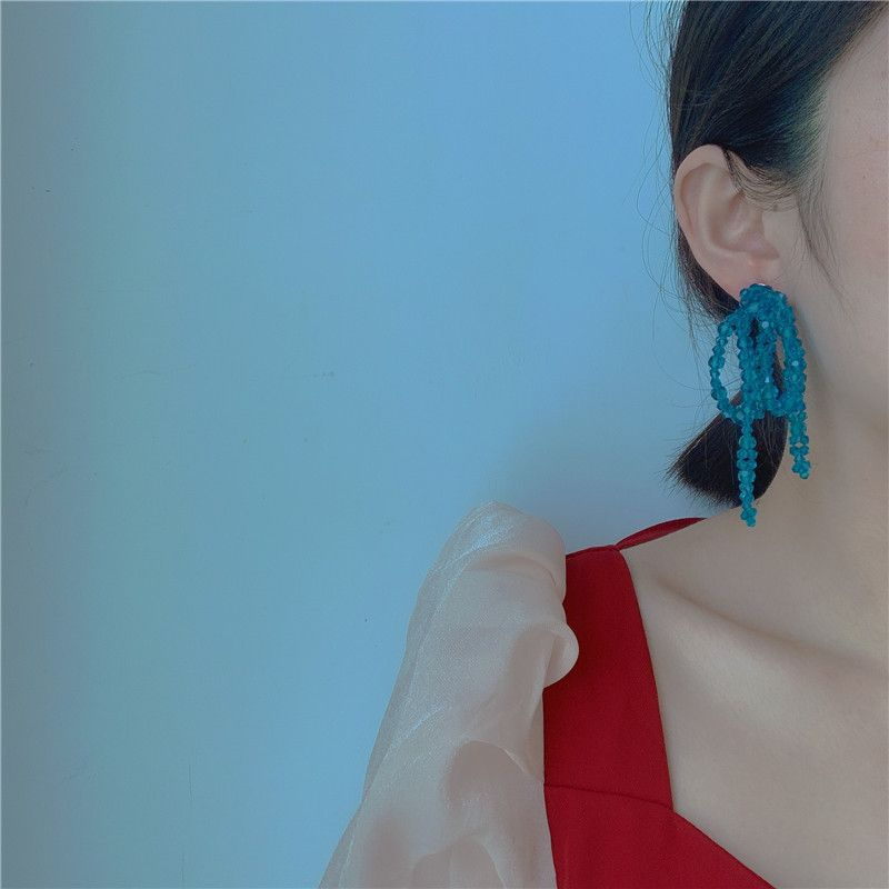South Korea's new niche hand-woven blue crystal beads beads knotted exaggerated earrings wholesale nihaojewelry NHYQ225642