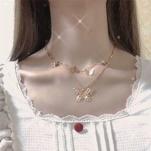Corea collar estilo simple salvaje doble mariposa collar clavícula cadena venta al por mayor nihaojewelry NHYQ225647's discount tags