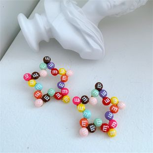 colorful bead earrings candy color five-pointed star wild letters color peas earrings wholesale nihaojewelry NHYQ225651's discount tags