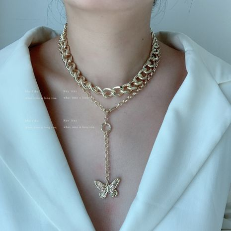 exaggerated double stacking butterfly necklace metal chain choker clavicle chain sweater chain wholesale nihaojewelry NHYQ225657's discount tags
