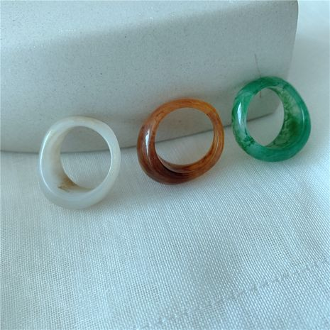 Korea stacked fashion niche resin tricolor French ring wholesale nihaojewelry NHYQ225660's discount tags