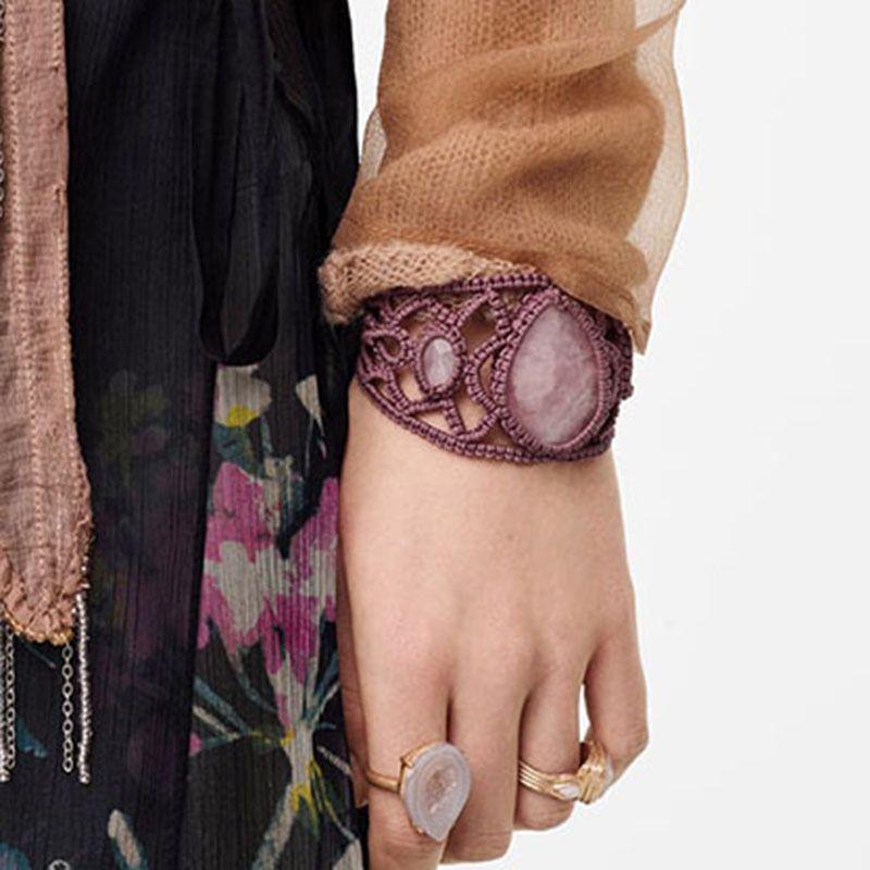 handwoven hemp rope bracelet fashion trend wild imitation stone jewelry wholesale nihaojewelry NHLA225672