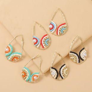 lágrimas geométricas pendientes de perlas de arroz hechos a mano nueva tendencia creativa pendientes de cuentas joyería al por mayor nihaojewelry NHLA225673's discount tags