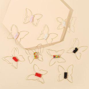 Pendientes de mariposa de cuentas de arroz coloridas geométricas exageradas tejidas al por mayor nihaojewelry NHLA225675's discount tags