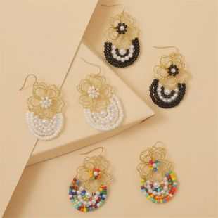 Bohemian hand-woven colorful rice beads flower earrings resin wholesale nihaojewelry NHLA225682's discount tags
