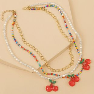handmade pearl rice beads multi-layer cherry necklace Korean cute resin woven fruit pendant jewelry NHLA225685's discount tags