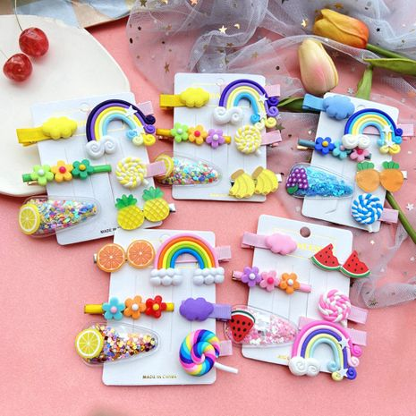Hairpin Korean child bangs clip side clip girl baby headdress combination wholesale nihaojewelry NHPJ225689's discount tags