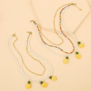 handmade pearl rice beads pineapple multi-layer necklace Korean cute woven fruit pendant jewelry wholesale nihaojewelry NHLA225693's discount tags