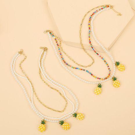 perles de riz à la main perles ananas multi-couche collier coréen mignon tissé fruits pendentif bijoux en gros nihaojewelry NHLA225693's discount tags