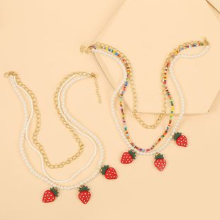 Fashion color long multi-layer rice beads strawberry necklace hand-woven fruit pendant jewelry wholesale nihaojewelry NHLA225694's discount tags