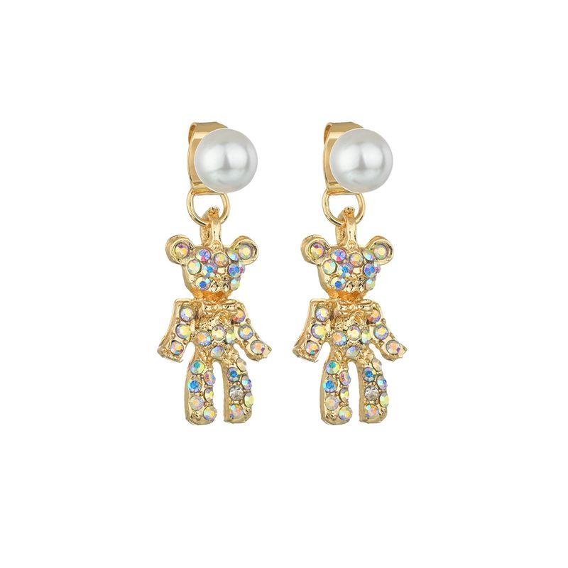 South Korea's new cute bear full diamond earrings temperament simple wild pearl earrings wholesale nihaojewelry NHBQ225697