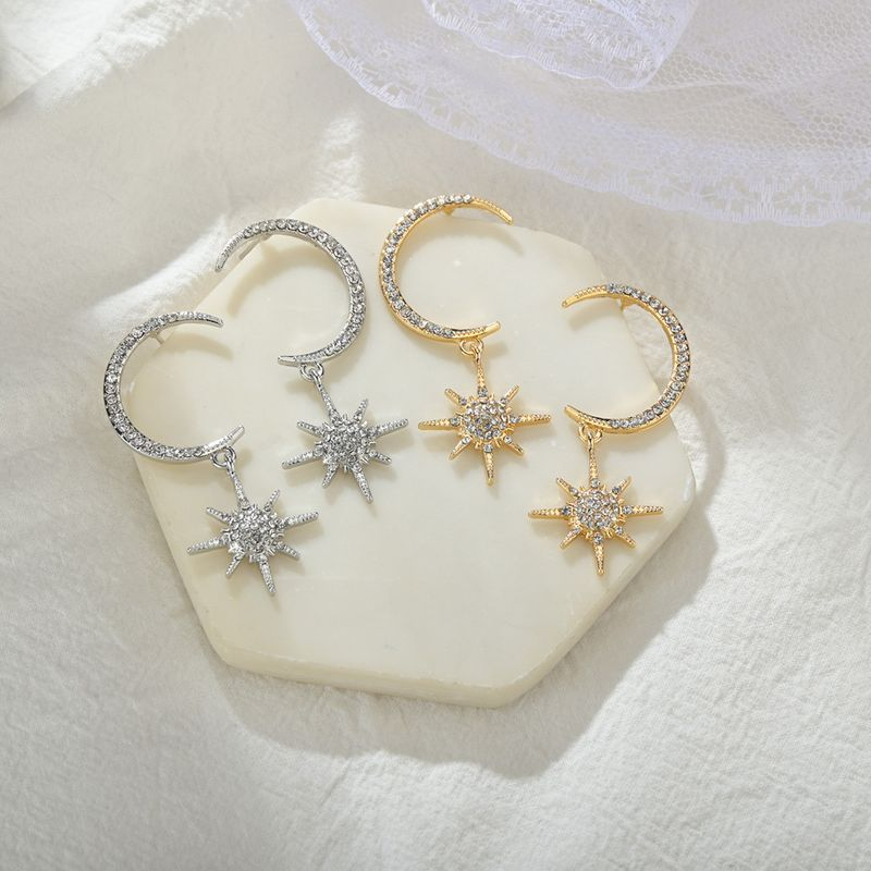 S925 silver needle star moon earrings femininity Korean wild hipster long earrings personality sun earrings wholesale nihaojewelry NHBQ225699