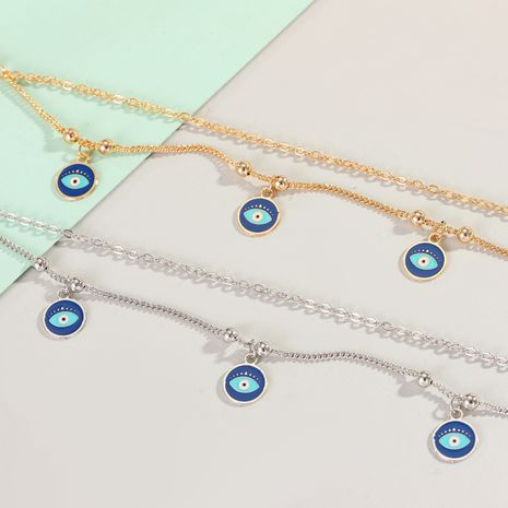 real gold-plated disc tassel anklets Turkish blue eyes anklets summer beach wholesale nihaojewelry NHGO225715's discount tags