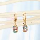 fashion jewelry letter ear ring creative color diamond English 26 letter ear buckle diamond earrings wholesale nihaojewelry NHGO225717