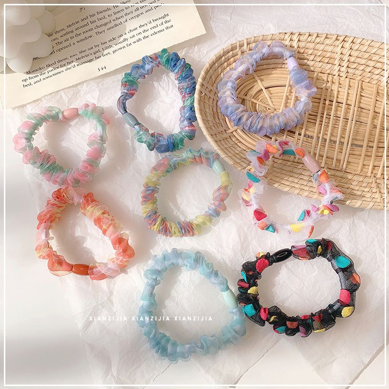 girl lattice chiffon small circle hair rope temperament circle head rope ball hair ornament wholesale nihaojewelry NHOF225741