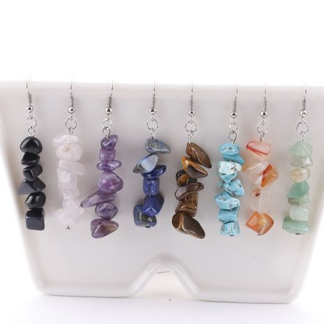 Pendientes hechos a mano pendientes de piedra de cristal simple piedra natural DIY pendientes pendientes de piedra multicolor venta al por mayor nihaojewelry NHDI225779's discount tags