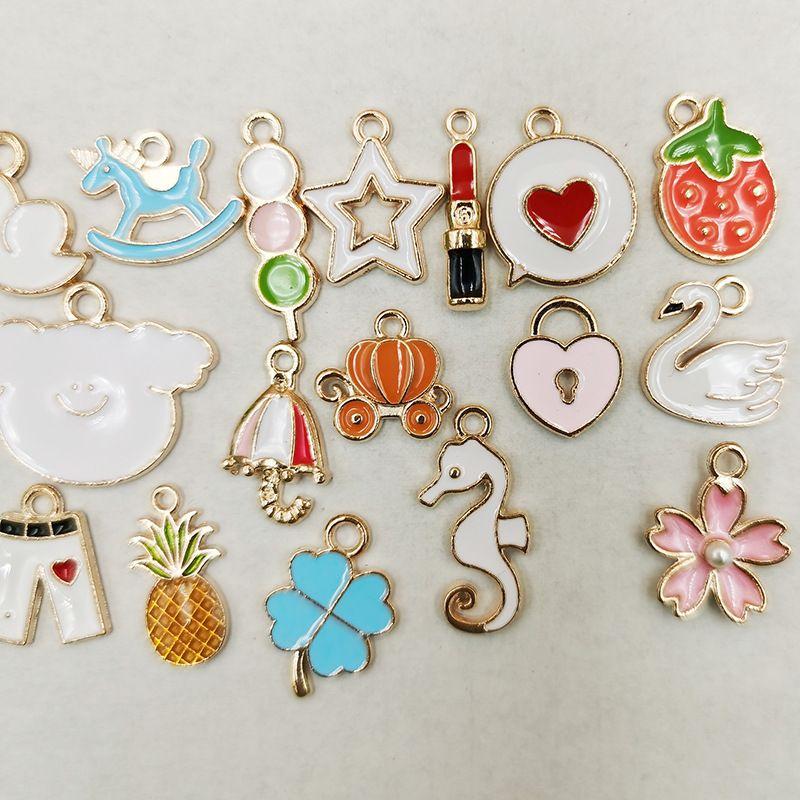 DIY Korean jewelry accessories alloy dripping oil small pendant stall bracelet earrings pendant wholesale nihaojewelry NHDI225787