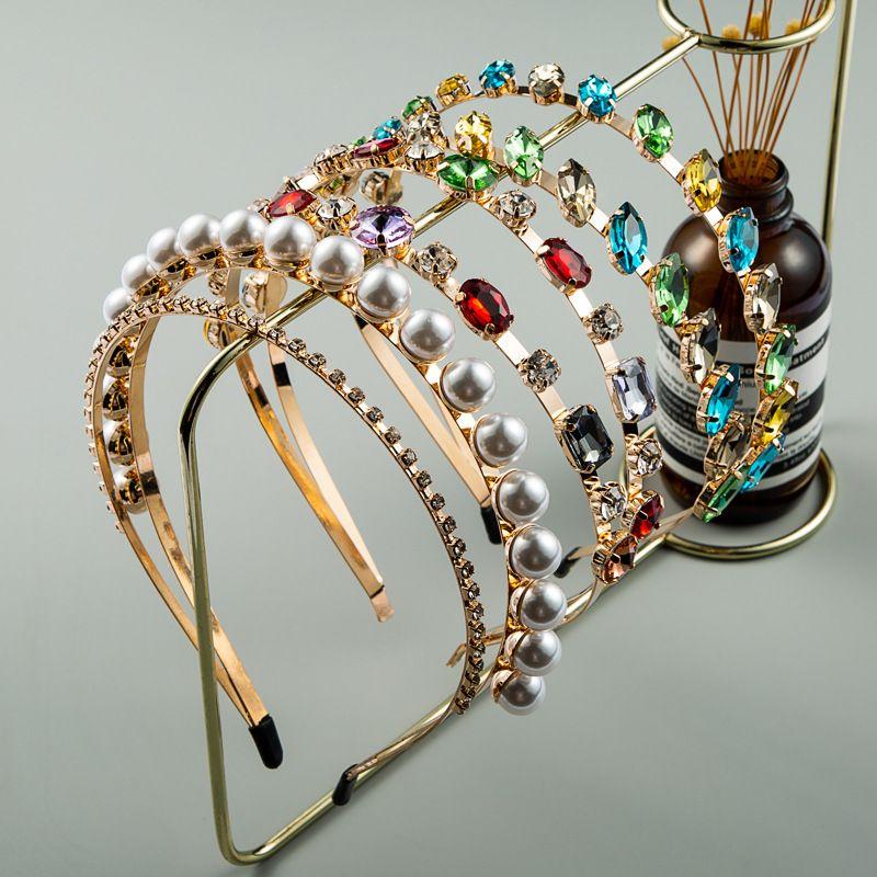 Korean hair band high-quality simple pearl headband fashion color rhinestone wholesale nihaojewelry NHLN225799