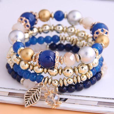 mode simple et polyvalent tendance magnifique perles en métal laisse bracelet multicouche en gros nihaojewelry NHSC226304's discount tags