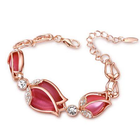 fashion metal simple tulip opal bracelet wholesale nihaojewelry NHSC226305