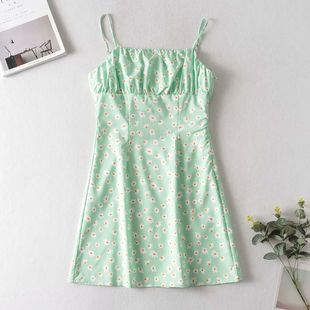 green floral print off-the-shoulder sling was thin dress short skirt wholesale nihaojewelry NHAM225898's discount tags