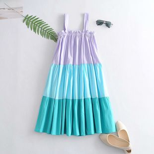 summer three-color stitching suspender dress wholesale nihaojewelry NHAM225900's discount tags