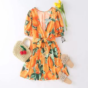 summer v-neck fruit print dress wholesale nihaojewelry NHAM225901's discount tags