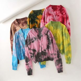 super nice tie-dye big pin short section exposed navel knitted sweater cardigan top wholesale nihaojewelry NHAM225913's discount tags