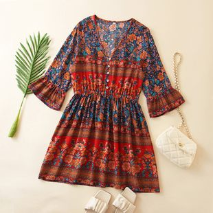 rayon positioning print sleeve holiday dress wholesale nihaojewelry NHAM225944's discount tags